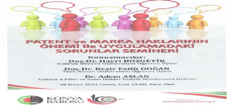 Konya Barosu'ndan 'patent ve marka' konferansı