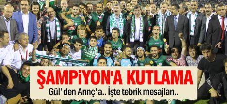 Konyaspor'a tebrik mesajları