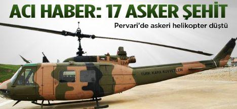 Helikopter düştü  Siirt'te 17 asker şehit