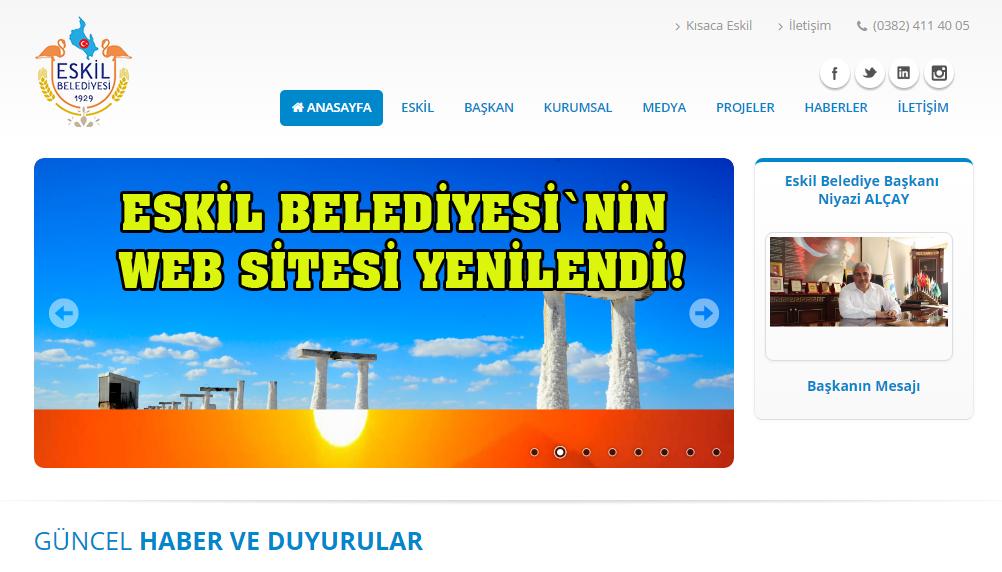 Eskil Belediyesi`nin Web Sitesi Yenilendi!