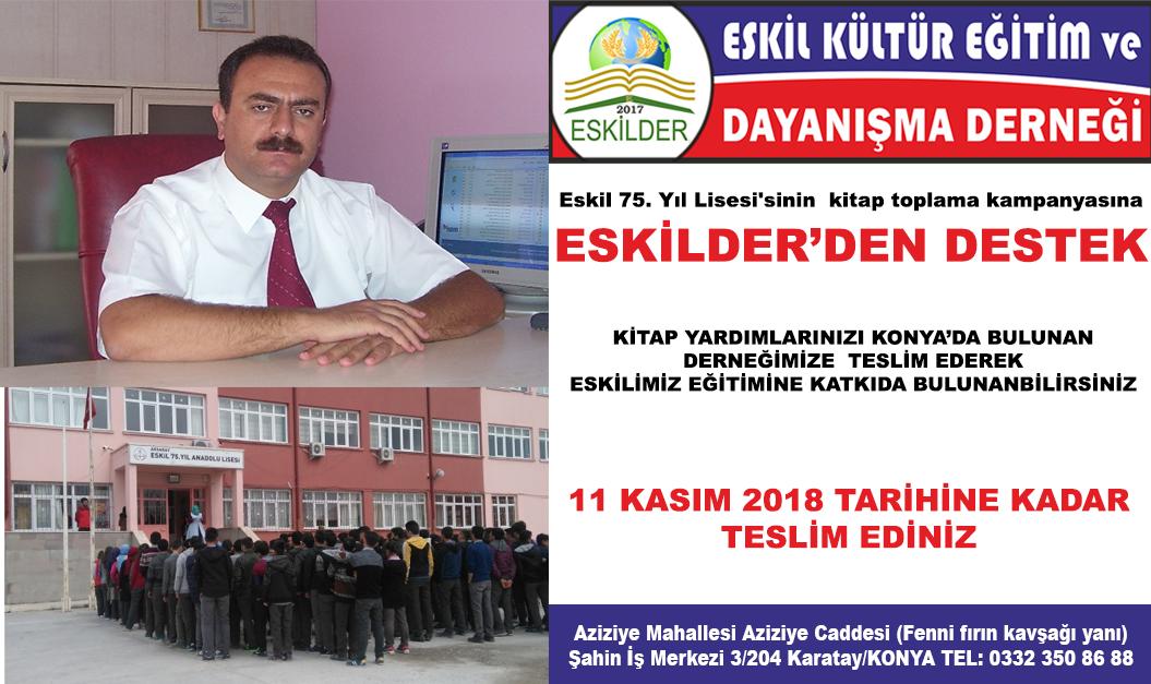 ESKİLDER'DEN,  Eskil 75. Yıl Lisesi'nden kitap toplama kampanyasına destek!