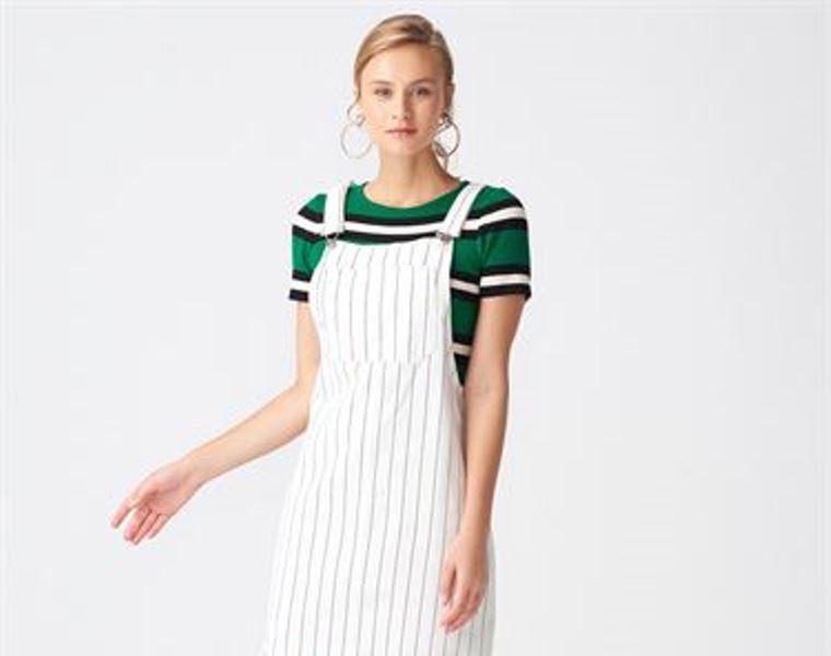 Çizgili ve Kot Detaylı Salopet Elbise Tasarım Çeşitleri
