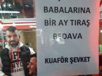 """Aksaray'da O Kuaför,""""Şehit babalarına bir ay bedava traş"""" edecek!"""