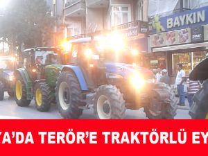 Konya'da Şehitler İçin Traktörcüler Eylem yaptı!